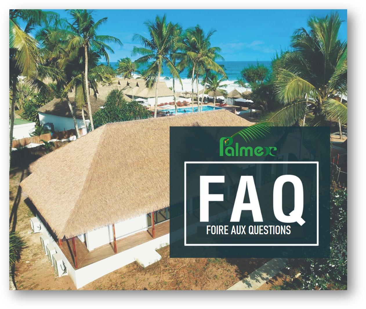 Questions courantes concernant les toitures en chaume synthétique Palmex.